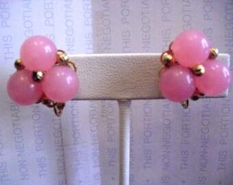 Vintage HOBE Screw Back Pink  earrings Adorable