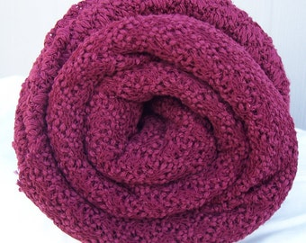 lacey knit fabric dark red