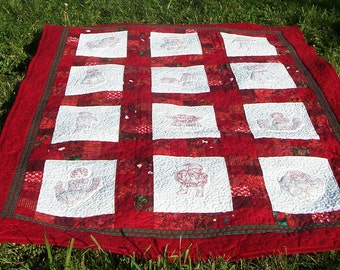 "Once Upon A Christmas -45"" x 60"" Quilted Throw or Wall Quilt,  Victorian Redwork Children, Christmas gift,READY TO SHIP"
