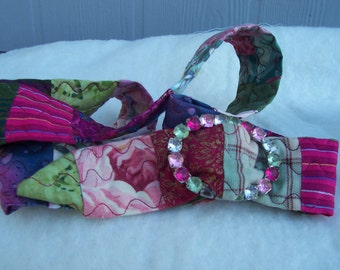 Rasberry Sorbet - Quilted Belt with Multi-Colored Jeweled Buckle