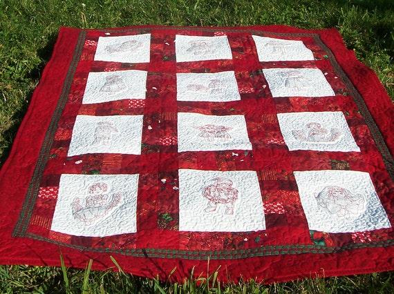 """Once Upon A Christmas -45"""" x 60"""" Quilted Throw or Wall Quilt,  Victorian Redwork Children, Christmas gift,READY TO SHIP"""
