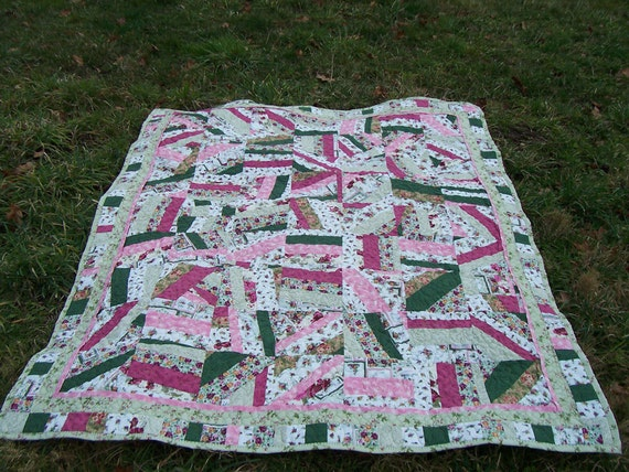 "RESERVED FOR PAIGE:  Tea and Roses  50"" X 60"" quilted throw or wall hanging"