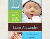 Monogram portrait - baby birth announcement - boy or girl