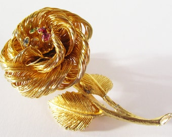 Vintage Gold Tone Rose Brooch Pin with Colored Rhinestones