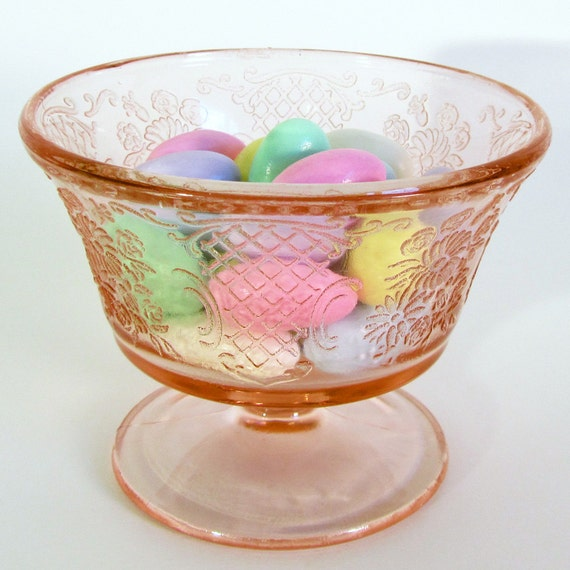 Pink Depression Glass Sherbet Footed Dish Normandie Pattern
