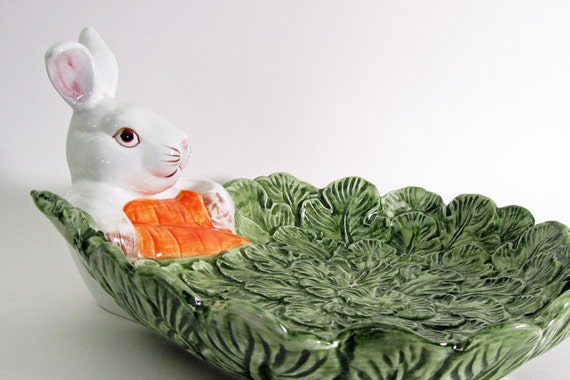 Bunny Rabbit with Cabbage Cheese Plate Serving Dish Vintage Omnibus