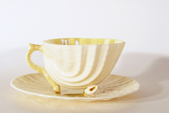 Belleek Neptune Yellow Shell Cup and Saucer Vintage Made in Ireland
