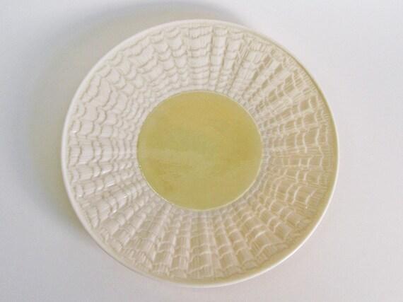 Belleek Tridacna Yellow Bread Plate Vintage Porcelain Made in Ireland