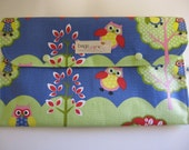 Nappy/Diaper wallet. waterproof lining 'Owls'  Washable