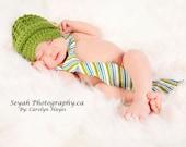 Little Man Newsboy with Buttons--Baby Beanie--Fern