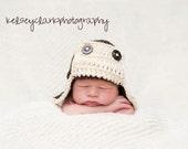 Little Aviator Hat--Baby Beanie--Espresso and Ivory--Newborn Photography Prop