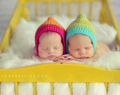 Twin Hats // Newborn Photography Prop // Pair of Pixie Chinstrap Hats