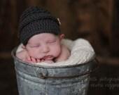 Baby Boy Hat // Knit Crochet Baby Boy Beanie Newsboy Hat // Newborn Photography Prop // Charcoal // The Little Man Newsboy with Buttons