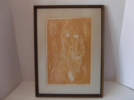 "Signed, Numbered 1956 Lithograph ""Clown with Monkey"""