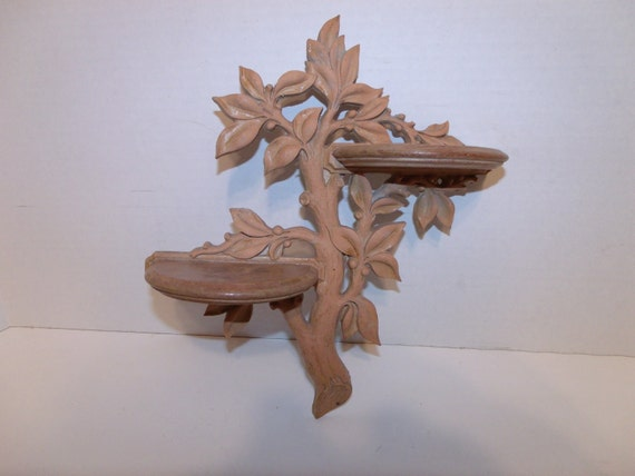 Beautiful Moulded Wall Hanging Shelf. Tree branch design with two shelfs.