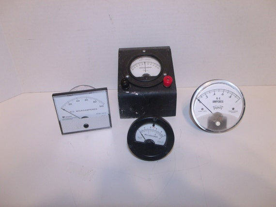 4 Vintage Meters and Gauges - 2 used and 2 new