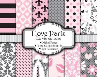 I Love Paris - Digital paper set