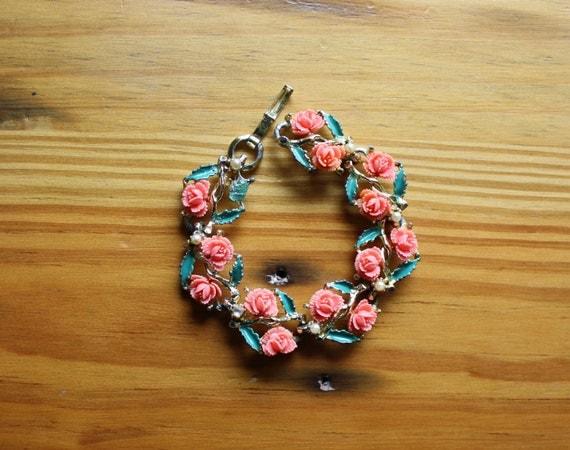 Vintage Salmon Flower and Pearl Thermoset Bracelet B