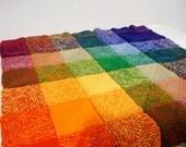 Rainbow Squares Afghan, full ROYGBIV Spectrum, GLBTQ Pride