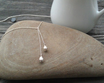 Sterling Silver Teardrop Lariat Necklace