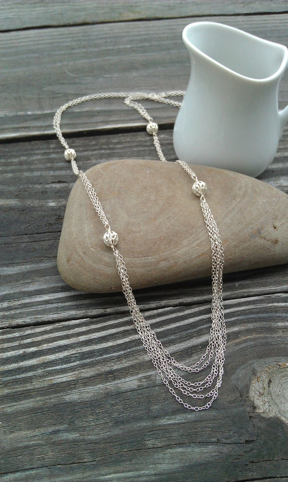 Stunning Long Sterling Silver Multi Chain and Filigree Ball Necklace