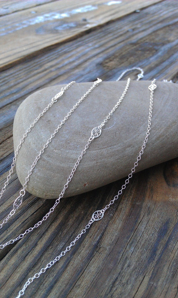 Sterling Silver Filigree Layer Necklace-Extra Long