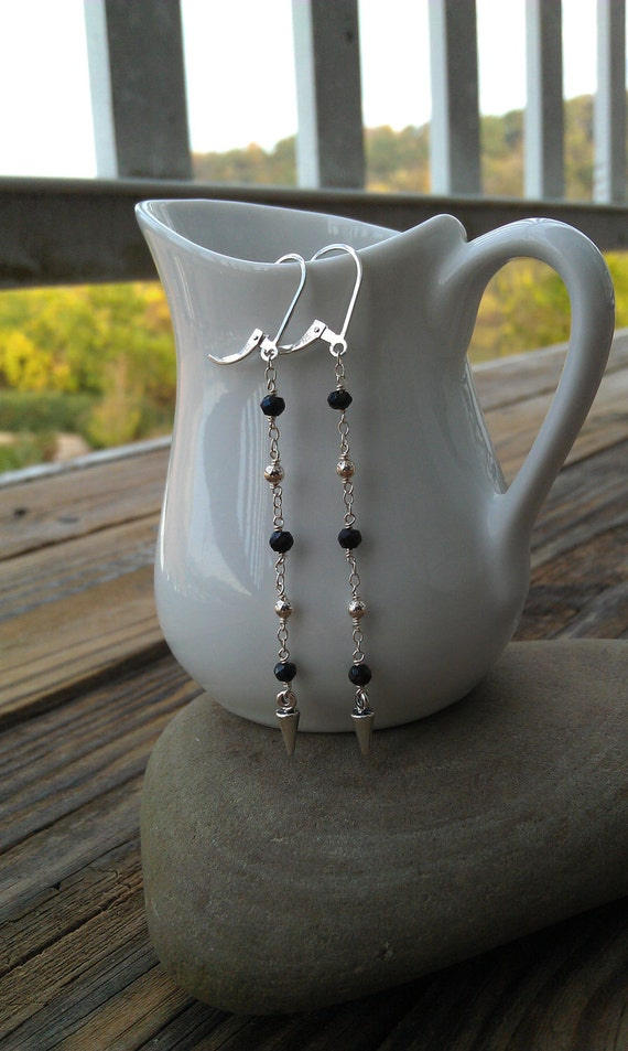 Long Sterling Silver and Onyx Earrings with Spikes