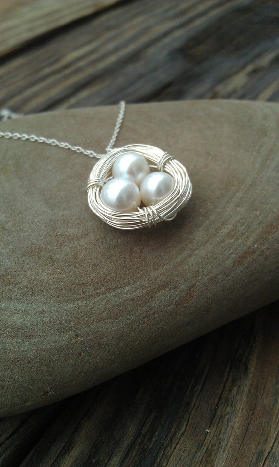 Large Sterling Silver Birds Nest Necklace with Genuine Pearls