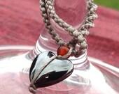 Gemstone Heart Wine Glass Charms - set of 6
