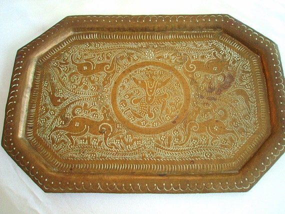 Antique Persian Brass Serving Tray Hand Engraved Persian Metalwork Art