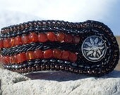 Carnelian Bronze Braided Leather Bracelet