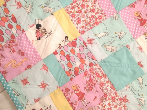 Girls At Play - Baby Girl Quilt in Aqua, Yellow, and Pink