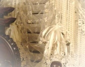 Shabby Chic Lace Pull-up Balloon Curtains Window Treatments - Available in Antique White or Vintage Cream colors