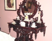 Chippendale style dresser- Hand Carved Dark Mahoney Color