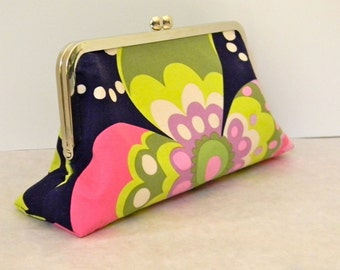 Clutch, Small Purse, Handbag, Pouch in Amy Butler Paradise Midnight and Sunspots, with pink, green, purple and turquoise