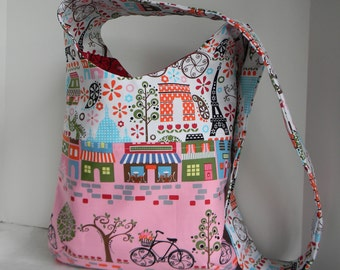 Paris France inspired shoulder bag tote in pink, white and red also cross body
