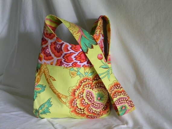 Large Cross Body Tote Bag, Shoulder  Bag Amy Butler in  cilantro, green, red and yellow