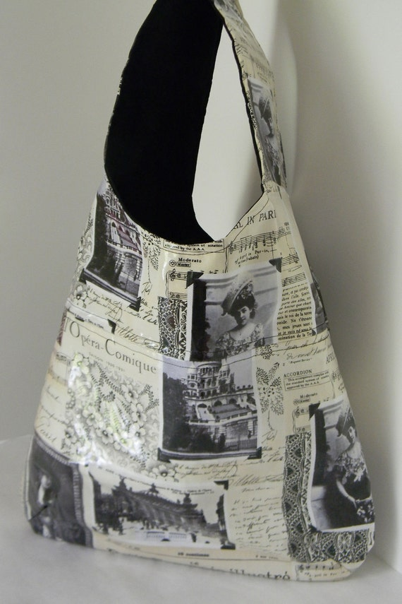Vintage inspired black, cross body purse, bag messenger, tote diaper bag, laptop hobo French Paris