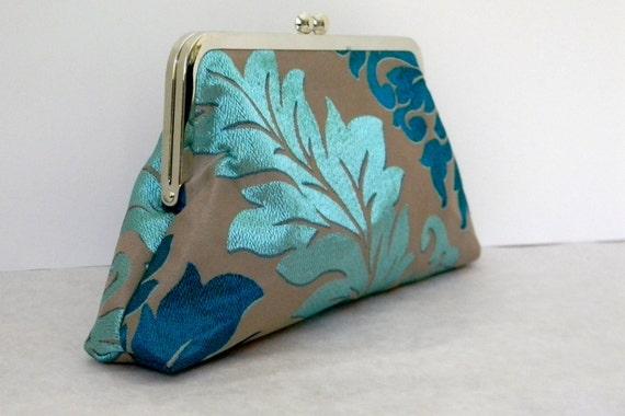 Emerald Wedding Clutch, bridal clutch, Holiday Evening Bag  Handbag, bridal, Special Occasion  Jacquard in Aqua and Teal
