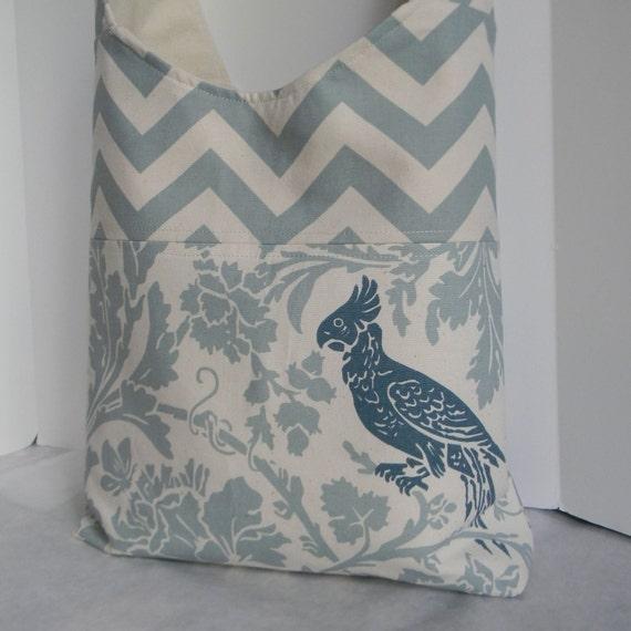 NEW Large Cross Body Chevron Bag Tote in Slate Blue Chevron Zig Zag and Bird Print