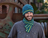 Men's matching beanie and scarf set in navy, blue and green perfect for fall, winter and spring and a great christmas gift for him