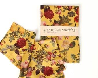 Rose Print Socks in Yellow -- Hand Printed Stockings