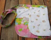 Clearance! Upcycled sheet reversible half apron -  utiltiy/vendor apron