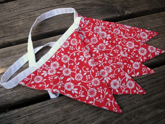 Clearance! Bunting - Red with white flowers, vintage sheet party flags/banners