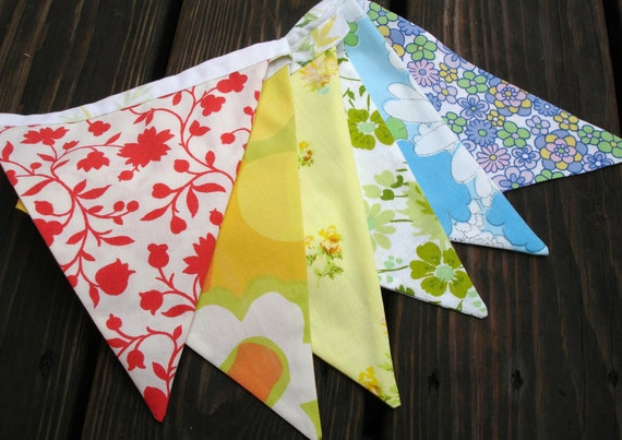 Rainbow vintage sheet flag bunting, party banner
