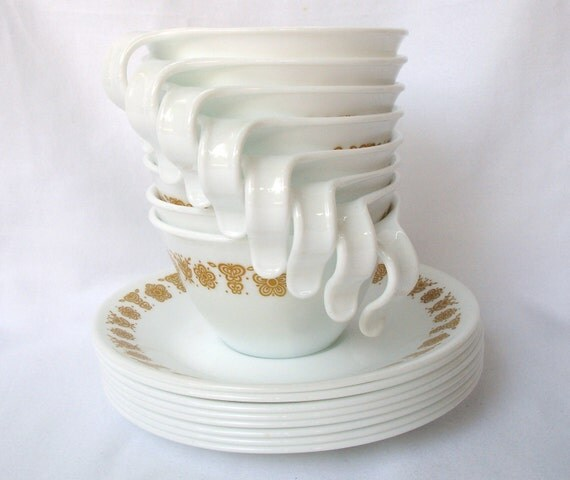 Set of eight (8) Corelle Butterfly Gold cups with saucers