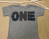 Plaid and Houndstooth Shirt Birthday Tee Organic Shirt Blend Grey and Blue Flannel Print