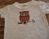 Owl Tee Girls or Boys Shirt on White Burnout Shirt Available for baby and toddler