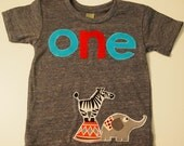 Circus animal party, circus theme, zoo animal Birthday Shirt, Animals, Organic blend birthday tee for boys and girls Carnival elephant zebra