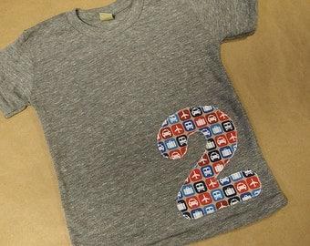 Planes Trains and Automobiles Birthday Shirt Boys T-shirt Organic Blend